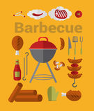 Icons Barbecue Grill. Big set Icons of Barbecue Grill. Vector Flat Illustration Royalty Free Stock Image