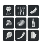 Icons Barbecue Grill. Big set Icons of Barbecue Grill. Vector Flat Illustration Stock Photography