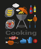 Icons Barbecue Grill. Big set Icons of Barbecue Grill. Vector Flat Illustration stock illustration