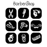 Icons barber shop elements in the style chalk Stock Photo