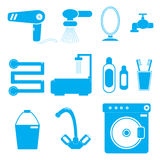 11 icons bathroom blue Stock Photos