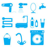 11 icons bathroom blue. Color on a white background Royalty Free Stock Images
