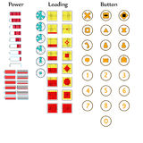 Icons of battery power and the different buttons Royalty Free Stock Photos