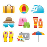 Icons Beach. Vector illustration showing beach icons Stock Illustration