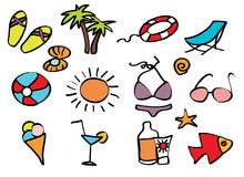 Icons beach holiday on a tropical beach Royalty Free Stock Image