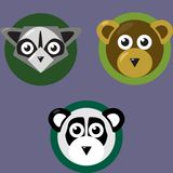 Icons of bears and raccoons on the round background vector illustration