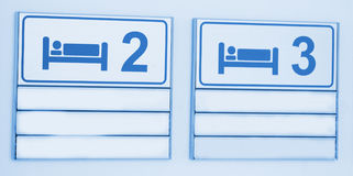 Icons with bed on hospital sign Stock Photo