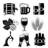 Icons of beer. Set icons of beer. Vector black and white silhouette image Royalty Free Stock Images
