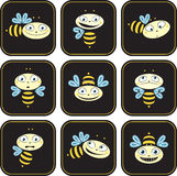 Icons with the bees. Different emotions Stock Photos