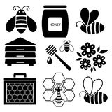 icons of bees and honey, vector  Royalty Free Stock Image