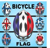 Icons bicycle helmets and flags countries. Icons bicycle helmets painted in the colors of flags of different countries Stock Images