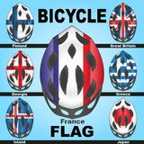 Icons bicycle helmets and flags countries. Icons bicycle helmets painted in the colors of flags of different countries Royalty Free Stock Photo