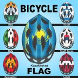 Icons bicycle helmets and flags countries. Icons bicycle helmets painted in the colors of flags of different countries Stock Image