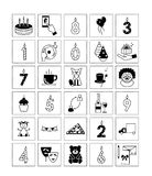 Icons birthday . Black and white  icons for my birthday on Stock Images