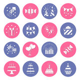 Icons birthday. Flat style. Vector illustration Stock Photo