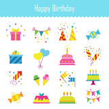 Icons birthday. Flat style. Vector illustration Stock Images