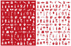 Icons birthday on red and white Stock Image