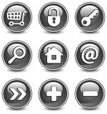 Icons in black Stock Images