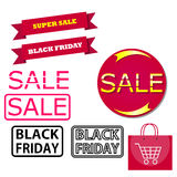 Icons for Black Friday and Cyber Monday. Elements and icons are designed for the advertising banners on pradazhe goods. Black Friday. Cyber Monday Stock Photography