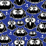 Icons black owls seamless pattern Royalty Free Stock Photography