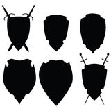 Icons black on white shields. Raster Royalty Free Stock Photo