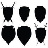 Icons black on white shields. Raster Royalty Free Stock Photo