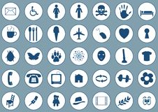 Icons on blue vector illustration