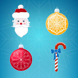 Icons on Blue Background, Christmas. Christmas Icons on Blue Background, Christmas Red Striped Candy Cane  with Blue Bow, Santa Claus Face , Christmas Yellow and Royalty Free Stock Photography