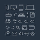 Icons on blue background Stock Photography
