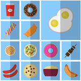 Icons blue flat fast food. simple vector icon with shadow food and drink. Icon eggs Royalty Free Stock Photos