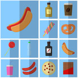 Icons blue flat fast food. simple vector icon with shadow food and drink. Icon Hot dog with ketchup Royalty Free Stock Image