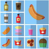 Icons blue flat fast food. simple vector icon with shadow food and drink. Icon Hot dog with mustard Royalty Free Stock Images