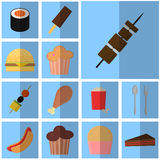 Icons blue flat fast food. simple vector icon with shadow food and drink. Icon meat grill Stock Image