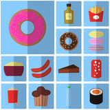 Icons blue flat fast food. simple vector icon with shadow food and drink. Icon pink donut Royalty Free Stock Photos