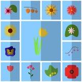 Icons blue, shadow, square, . Icon set floret. Icon tulip, yellow, Royalty Free Stock Image
