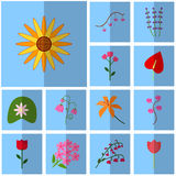 Icons blue, shadow, square, . Vector icon set flowering Stock Photography