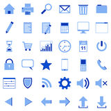 36 icons blue. 36 blue icons for websites and office Stock Photography