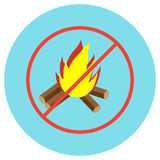 Icons bonfire crossed in a circle in a flat style. Vector image on a round colored background. Element of design, interface Stock Image