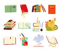 Icons of books vector set design style with dragon, bird feathers, candle, bookmark and ribbon. Books in a stack, open vector illustration