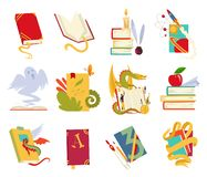 Icons of books vector set with dragon, bird feathers, candle, aple, bookmark and ribbon. Books in a stack, open, in a vector illustration