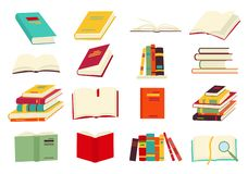 Icons of books vector set in a flat design style. Books in a stack, open, in a group, closed, on the shelf. Reading stock illustration