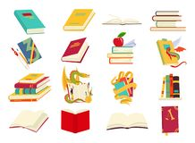 Icons of books vector set in a flat design style. Books in a stack, open, in a group, closed, on the shelf. Reading vector illustration