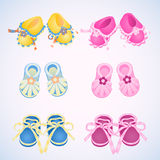 Icons booties. NIcons booties for boys and girls stock illustration