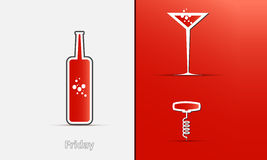 Icons of a bottle, glass and corkscrew Royalty Free Stock Photo