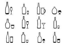 Icons bottles with glasses Stock Photos