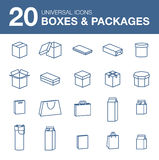 Icons boxes and Packaging simple linear style Stock Photography