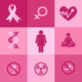 Icons of Breast Cancer Awareness Royalty Free Stock Photos