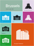 Icons of Brussels. Landmarks of Brussels. Set of color icons in Metro style. Editable vector illustration Royalty Free Stock Photo