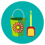 Icons bucket and shovel of toys in the flat style. Vector image on a round colored background. Element of design, interface. Stock Photography
