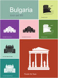 Icons of Bulgaria. Landmarks of Bulgaria. Set of color icons in Metro style. Editable vector illustration Stock Photo